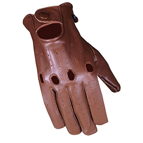 Men's Transporter Genuine Soft Lambskin Aniline Leather Driving Gloves Brown M ()