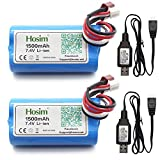 Hosim 2pcs 7.4V 1500mAh 15C T Connector Li-ion Rechargeable Battery Pack and 2pcs USB Charger, Safe & Fast Charging, Best for RC Evader BX Car RC Truck RC Truggy RC Airplane UAV Drone FPV