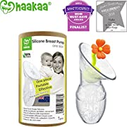 haakaa Breastpump with Flower Stopper 100% Food Grade Silicone BPA PVC and Phthalate Free (3.5oz/100ml) (Orange)