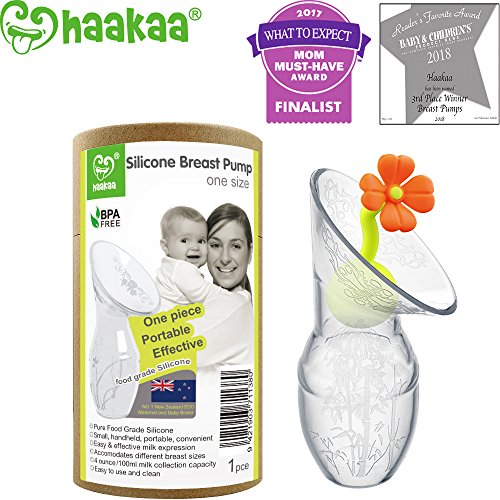 haakaa Breastpump with Flower Stopper 100% Food Grade Silicone BPA PVC and Phthalate Free (3.5oz/90ml) (Orange)