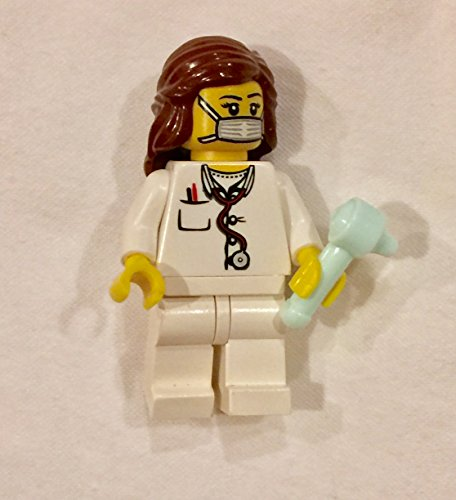 Probe Mask (LEGO Doctor Nurse Surgeon female Dr girl Minifigure with ear probe Reddish Brown long hair head face mask)