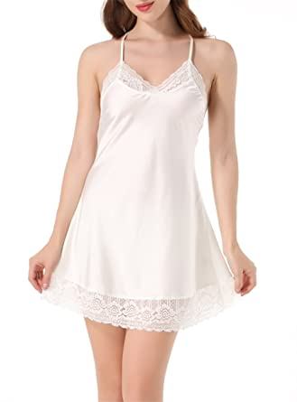 bed7f3320 ANJAYLIA Women s Babydoll Nightwear Satin Nightgown Mini Slip Sleepwear  White