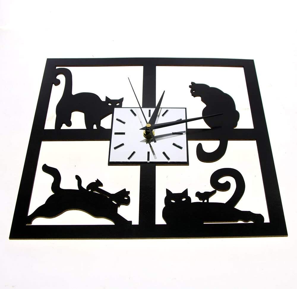 FYGEX Reloj de Pared Cuatro Gatos Reloj de Pared Decorativo Gatito ...