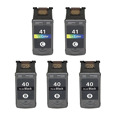 ESTON 5Pack Remanufactured Replacement for PG-40 Black an...
