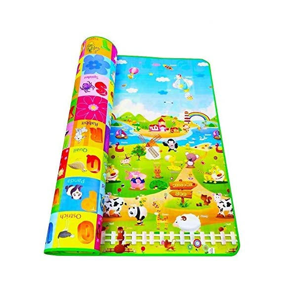 Rylan Double Sided Waterproof Baby Crawl Mat with Zip Bag to Carry (Multicolour, Large Size -6 X 4 ft)