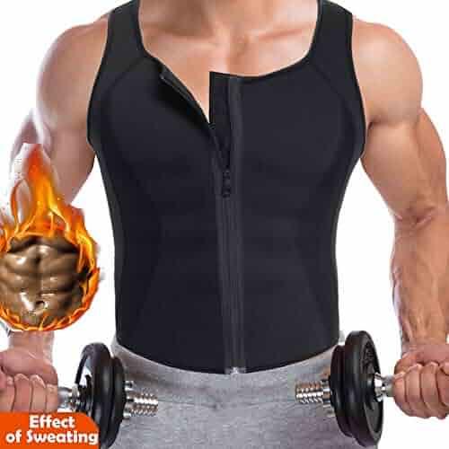 43d8314d5a9f0e CROSS1946 Men Waist Trainer Vest Hot Neoprene Corset for Weightloss Zipper  Sauna Tank Top Mesh Workout