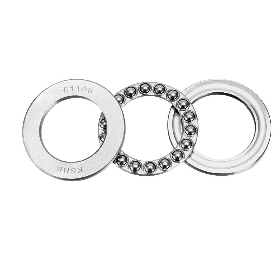 sourcingmap 51106 Single Direction Thrust Ball Bearings 30mm x 47mm x 11mm Chrome Steel a18062000ux0239