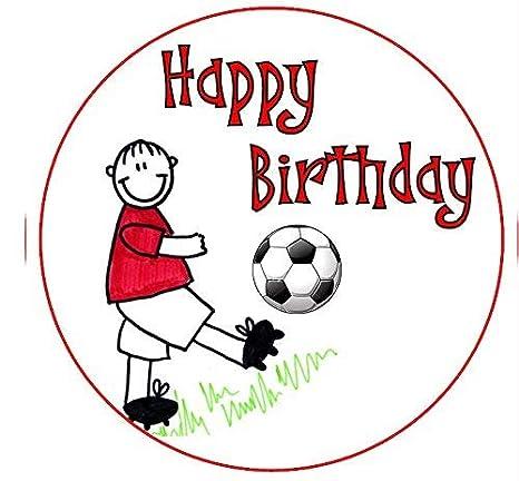 Decoración para tarta de feliz cumpleaños, diseño de fútbol ...
