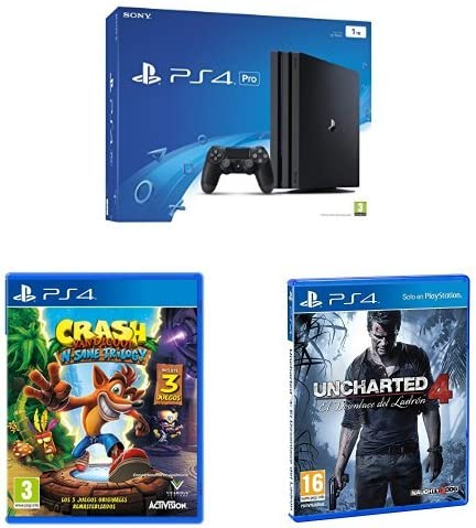 PS4 Pro 1 TB + Uncharted 4 + Injustice 2 + Crash: Amazon.es ...
