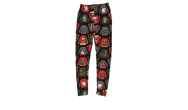 d758e50b89 Amazon.com: No Boundaries Junior Womens Black Ugly Christmas Sweater Fleece  Lined Holiday Santa Leggings: Clothing