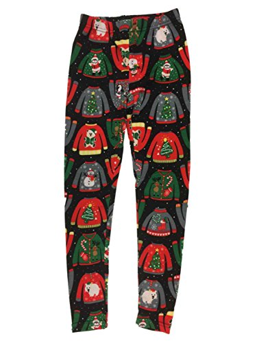 Junior Womens Black Ugly Christmas Sweater Fleece Lined Holiday Santa Leggings (Boundary Fleece)