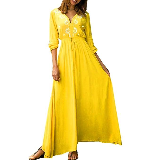 db0678b1230 kaifongfu Long Sleeve Women Casual Maxi Dress V Neck Printed Casual Dress( Yellow