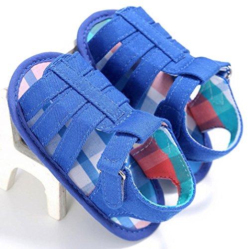 (0 ~ 18 Meses)El bebé de Koly embroma los zapatos de las sandalias del niño del pesebre suave suave de los muchachos de la muchacha (2, Blanco) Azul