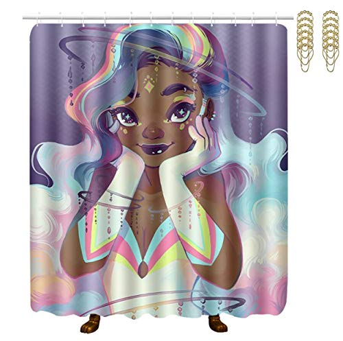 NiYoung Stalls and Bathtubs Shower Curtains with Rustproof Grommets Holes Spa Curtain - Extra Long (African American Black Woman in White)