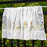 Cute Kitchen Window Curtains WeMay Panel Embroidery Pastoral Style Cafe Curtain Kitchen Curtain Floral Window Valance,18X60 inch (Cute flower)