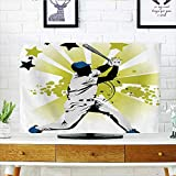 Jiahonghome Dust Resistant Television Protector Pitcher Hits The Ball Fast Stars All Over The Bat Speed Strong Game tv dust Cover W20 x H40 INCH/TV 40''-43''