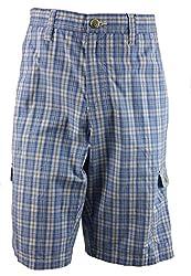 Age of Wisdom Regular Fit Plaid Cargo Shorts 100% Cotton Blue 36