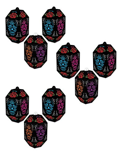 Beistle 00375, 9 Piece Day of the Dead Paper Lanterns, 7