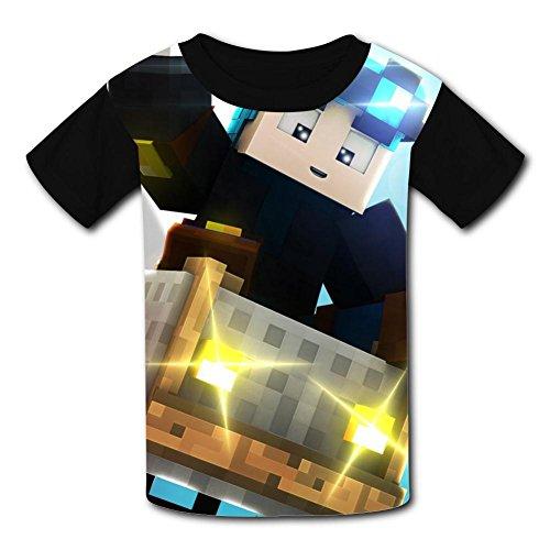 Custom Kids Popular-Mmos T-D-M Tee Shirt T-Shirt for Children Boys Girls L Black ()