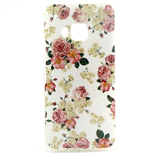 HTC One M9 Case, Sophia Shop Premium Slim Fit Flexible TPU Case for HTC One M9, Ultra Slim TPU Soft Rubber Cover Case, Scratchproof, Shock Absorbent, Shatterproof, Anti-slip [Portrait Style] [Tribal Pattern] [Flower Pattern] [Fashion Pattern] [Text Pattern] [Totem Pattern] Protective Skin Case Fashion Style Colorful Painted TPU Case Soft Rubber Back Cover Protector Skin (Peony)