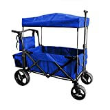 BLUE PUSH AND PULL HANDLE WITH WIDE OFF ROAD ALL TERRAIN TIRES BEACH OUTDOOR SPORT COLLAPSIBLE FOLDING STROLLER WAGON BABY TROLLEY W/ CANOPY GARDEN UTILITY SHOPPING TRAVEL CARTFREE CARRYING BAG