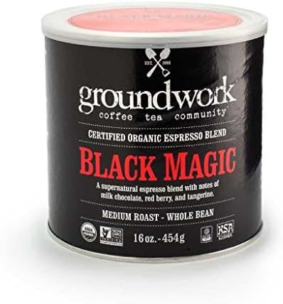 Groundwork Organic Whole Bean Medium Roast Coffee, Black Magic Espresso, 16 Ounce Can (Pack of 2)