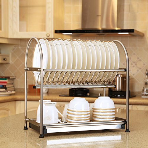 WiseLife 2-Tier Dish Drying Rack and DrainBoard,17L x 10W x 17H Inches Stainless Steel Storage Rack Kitchen Cup Dish Drying Rack Tray Dish Drainer