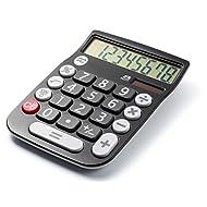 Office+Style 8 Digit Dual Powered Desktop Calculator, LCD Display, Black