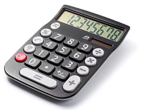 Office+Style 8 Digit Dual Powered Desktop Calculator, LCD Display, Black