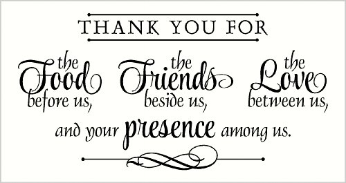 Wall Décor Plus More WDPM2283 Thank You for Food, Friends, Love, Presence Wall Vinyl Sticker Quote, 18x35.5-Inch, Black