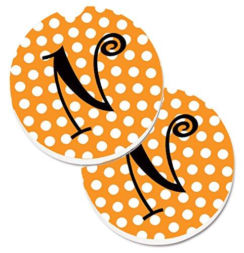 - Caroline's Treasures Monogram Initial N Orange Polkadots Set of 2 Cup Holder Car Coasters CJ1033-NCARC, 2.56, Multicolor