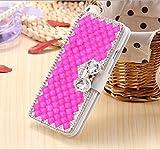 Galaxy S7 Edge Silk Print Wallet Case-Superstart Samsung S7 Edge 3D Butterfly Big Rinestone Glitter Case with Credit Card Holder Kickst Function for Samsung Galaxy S7 Edge(Rose Red)