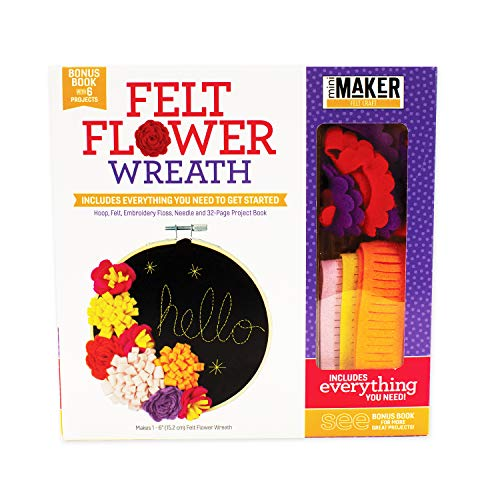 (Felt Flower Wreath Book Plus Kit - Includes Hoop, Felt Embroidery Floss, Needle and 32-Page Project Book)