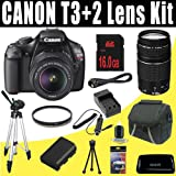 Canon EOS Rebel T3 12.2 MP CMOS Digital SLR Camera with EF-S 18-55mm f/3.5-5.6 IS II Zoom Lens and EF 75-300mm f/4-5.6 III Telephoto Zoom Lens + LPE10 Battery and Charger + 16GB Deluxe HDMI Accessory Kit, Best Gadgets