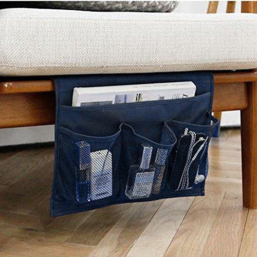 4 Pockets Tidy Bedside Caddy Organizer Hanging Storage Mattress Armrest Chair Desk TV Remote Controller Holder Bag Table Cabinet Magzine Book Cellphone iPad Pouch for Dorm Bedroom Navy Blue