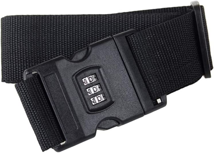 LIOOBO Luggage Straps Adjustable Safety Travel Bag Accessories with Combination Lock Black