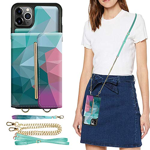 ZVEdeng iPhone 11 Pro Max Wallet Case, iPhone 11 Pro Max Card Holder Case with Crossbody Chain and Wrist Strap, Kickstand Phone Case Crossbody Case for iPhone 11 Pro Max, 6.5inch-Mixcolor