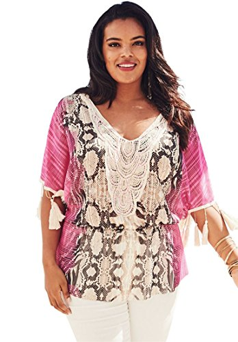 Beaded Crochet Fringe Top - Roamans Women's Plus Size Fringe Crochet Tunic