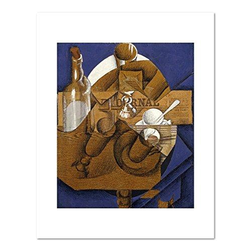 Verres Et Bouteille Le Journal - Trasse, Verres Et Bouteille (Le Journal) by Juan Gris, . Art Print