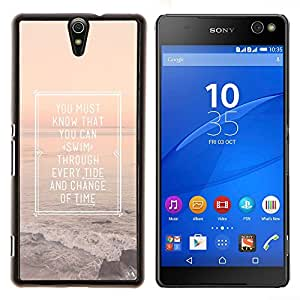 YiPhone /// Prima de resorte delgada de la cubierta del caso de Shell Armor - Cartel Inspiring Summer Sunset Mar Océano - Sony Xperia C5 Ultra