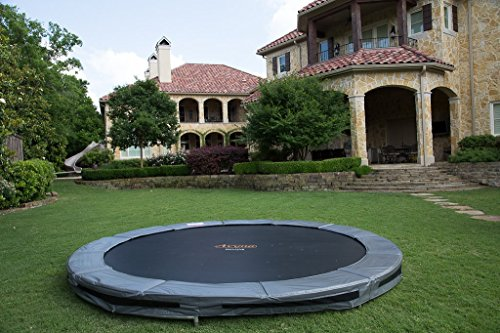 Nin Ground - Avyna Pro-Line In-Ground Trampoline-14-foot Diameter Round-Titanium Grey ...