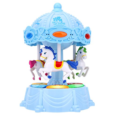 Carousel Music Box, Zooawa Merry Go Round Electronic Musical Rotating Toy with 3 Modes & Animal Sound - Blue - Mini Horse Music Box