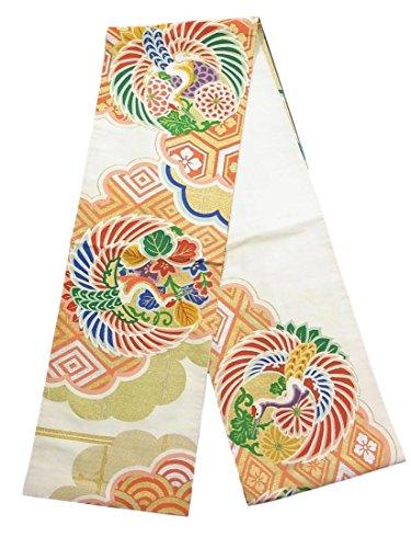 重々しいアイデア考古学的なアンティーク 丸帯 綴れ 雲取りに鶴丸文 正絹
