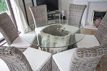 Saturday Kitchen Driftwood Style Circular Java Root Dining Table With Six Natural Wicker Chairs