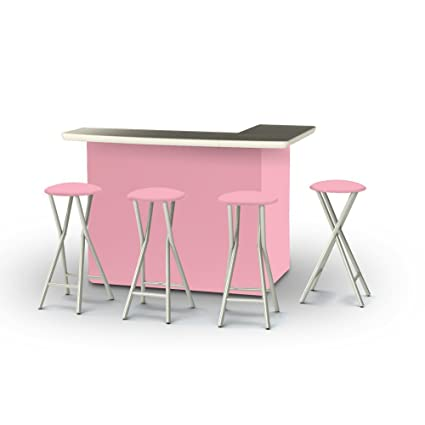 Best Of Times Portable Patio Bar Table With Stools, Ice Cream Parlor