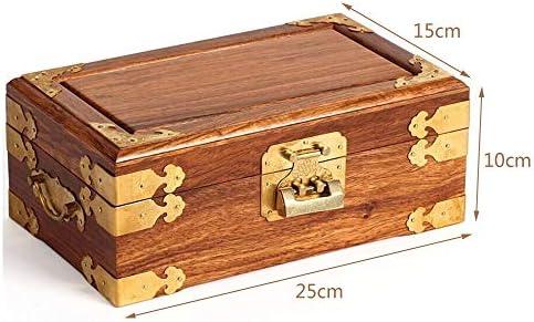 Joyero Caja De Almacenamiento Caja Pequeña De Madera De Joyería Caja Cofre Del Tesoro De Cosméticos Joyas De Almacenamiento De Sándalo Doble Fácil de Cargar (Color : Yellow , Size :