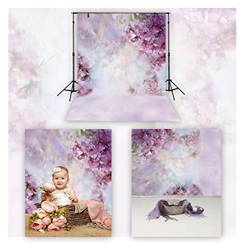 (Funnytree 5x7ft Durable Fabric Purple Flowers Bokeh Backdrop No Wrinkles Newborn Baby Shower Birthday Photography Background Floral Blossom Portrait Party Decor Banner Photo Studio Video Props)