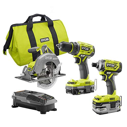 (Ryobi P1837 18V One+ Cordless Brushless 3 Tool Combo Contractor Kit (9 pieces: Drill/Driver, Impact Driver, Circular Saw, 7-1/4 in Blade, Blade Wrench, Charger, 2.0 & 3.0 Ah Batteries, Bag))