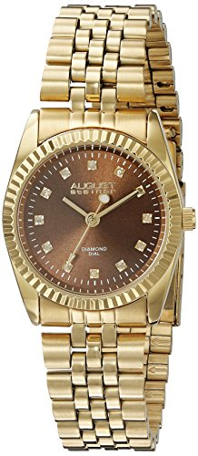 August Steiner Women's AS8170YGBR Yellow Gold Quartz Watch with Brown Dial and Yellow Gold Bracelet
