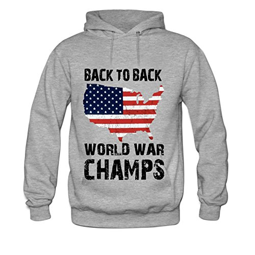 Back to Back World War Champs USA Mens hoody Sweatshirt L Grey